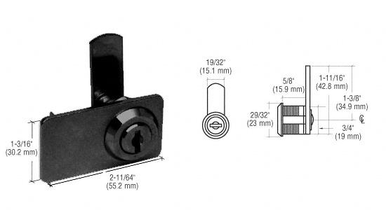 CRL Black Keyed Alike Double Door Cam Lock